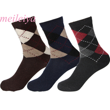 5 Pair/Bag Rabbit Wool Blended Quality Men's Warm Socks Breathable Soft Dotted Line Rhombus Prints Spring Winter Male Socks