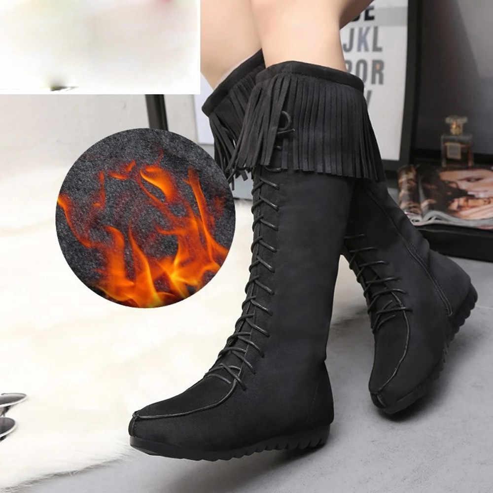 ... Сапоги до колена на шнуровке Для женщин осень из мягкой кожи Модная  бахрома на плоской подошве ... 9aa91eb2062