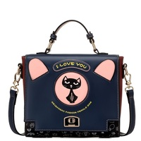 The Trend Of The New Personality Portable Bag 2017 Kitten Retro Single Shoulder Bag Printing Leisure