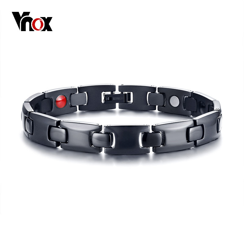 Vnox Healing FIR Magnetic Titanium Bio Energy Bracelets for Men Blood Pressure Accessory Black Male Health Care Therapy Bracelet trendy top white ceramic bracelet elegant star health care titanium bracelets