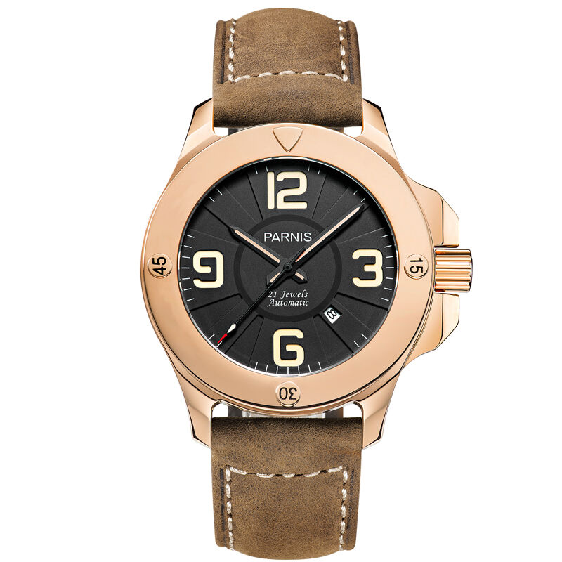 Parnis Commander Seriers Luminous Mens Sapphire Glass Leather Watchband Military Sport Automatic Mechanical Watch WristwatchParnis Commander Seriers Luminous Mens Sapphire Glass Leather Watchband Military Sport Automatic Mechanical Watch Wristwatch