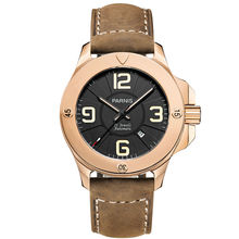 Parnis Commander Seriers Luminous Mens Sapphire Glass Leather Watchband Military Sport Automatic Mechanical Watch Wristwatch