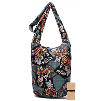 Fashion Women Shoulder Bag Cotton Fabric Sling Shoulder Bag Floral Print Large Capacity Crossbody Messenger Bag 1