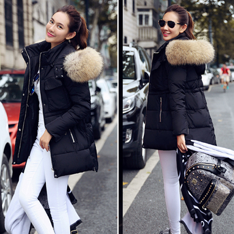 ФОТО Winter Jacket Women Large Real Fur  2016 LargeRaccoon Fur Hooded Coat Parkas Outwear Fashion Brand Free  Shipping