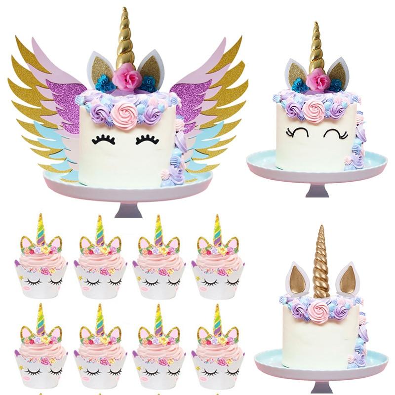 Unicorn Cake Topper Unicornio Horn Ears Cake Decorations ...