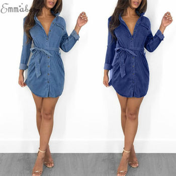 2018 New Fashion Hot Sexy Charming Women's Blue Jeans Pocket Long Sleeve Loose Shirt Mini Dress