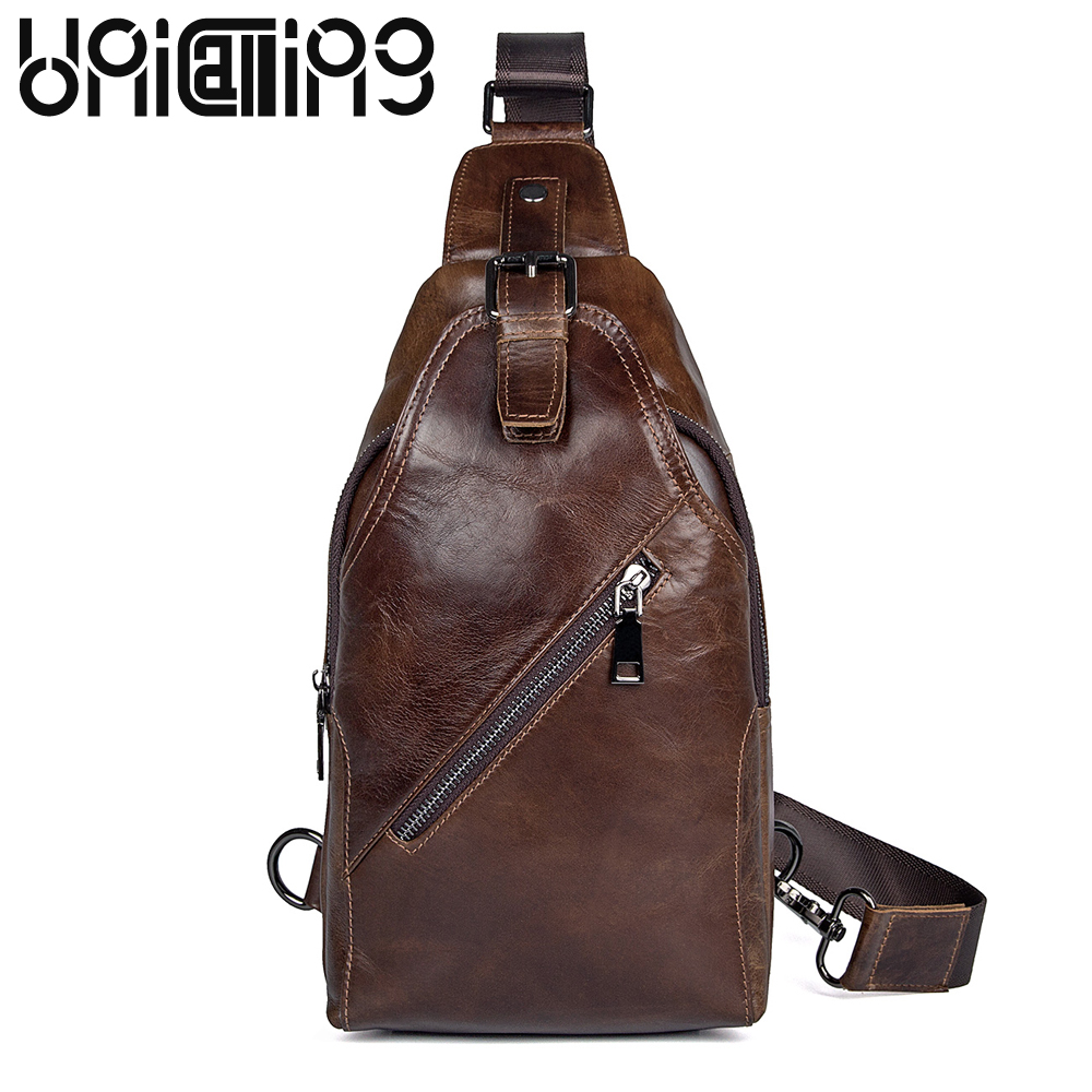 UniCalling Retro Genuine Leather men chest Bag Leisure cow leather men bag Zipper hasp Solid Color men messenger bags UniCalling Retro Genuine Leather men chest Bag Leisure cow leather men bag Zipper hasp Solid Color men messenger bags