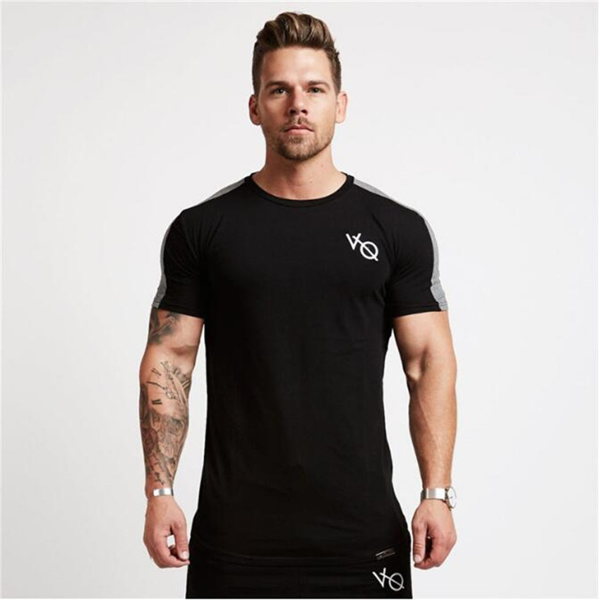 2018 Summer New Men Short Sleeved T Shirt Cotton Raglan Sleeve Gyms Fitness Workout Clothing Male Casual Fashion Brand Tees Tops