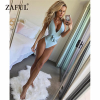 ZAFUL Swimsuit Women Sexy Halter Neck V-neckline PaddedSwimwear Backless Solid Color Women Swimsuit One Piece   Swimming   Suit