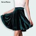 Veludo saia plissada 2017 nova primavera das mulheres mini saias com legging vintage coreia do veludo saia de cintura alta casual jumper