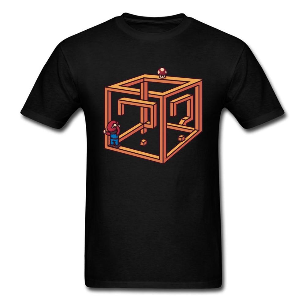 Mystery Box T-Shirt Men Super Mario T Shirt Novelty Game Clothing Question Mark Gg Tops Cotton Tee Geometric Tshirt