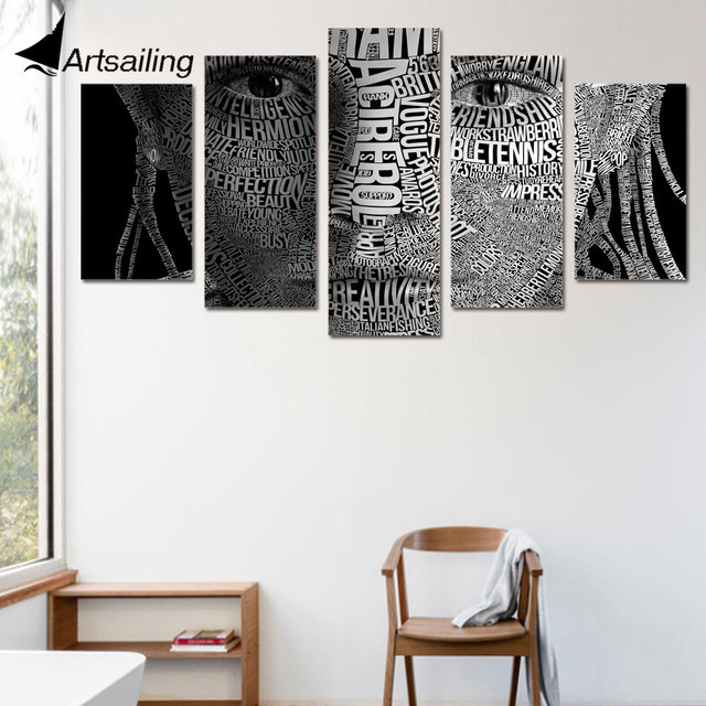 5 Piece Canvas Art Wall Art Words Face Typography Painting Picture ...