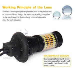 Image 4 - 2x T20 7440 W21W 96 SMD 3014 araba Led ışık gündüz farı + dönüş sinyali çift modlu Canbus DRL LED sis dış işıklar