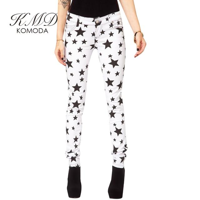 86b14bf00 KMD KOMODA White Star Printed Pants Women High Waist Elegant Pencil Pants  Female Casual Basic Brief Slim Pant Ladies