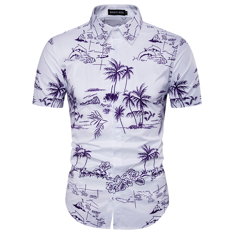 2017 new floral hawaiian shirt summer breathable thin for Mens slim hawaiian shirt