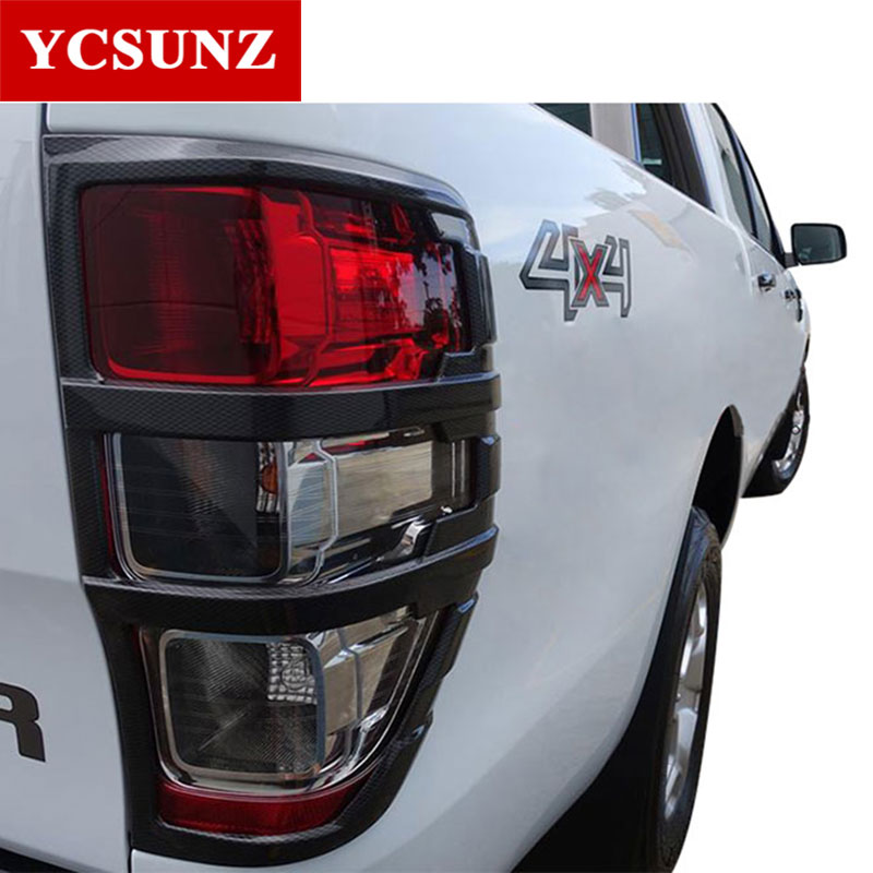 цены 2016-2018 carbon fiber color tail lights cover for ford ranger T7 accessories ABS car styling Exterior lights cover trim Ycsunz