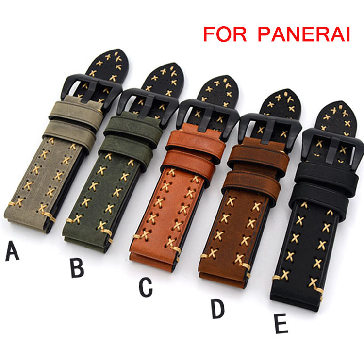 Handmade black green brown yellow Watch Band For Panerai PAM Strap Genuine Leather Mens 20mm 22mm 24mm 26mm Watch bands tjp handmade classic 18mm 20mm 22mm 24mm brown green khaki black nato genuine crazy horse leather sport pilot watch bands strap