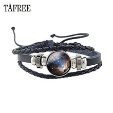 TAFREE Personalized Starry Sky Leather Bracelet Glass Cabochon Universe Space Nebulae Stars Bangles Jewelry Gift D835