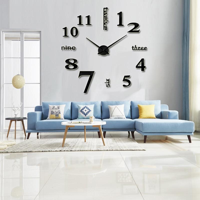 重复super Big Mirror Wall Clock Acrylic Metal Wall Watch Room Decorate Wedding Gift Sticker Wall Clock
