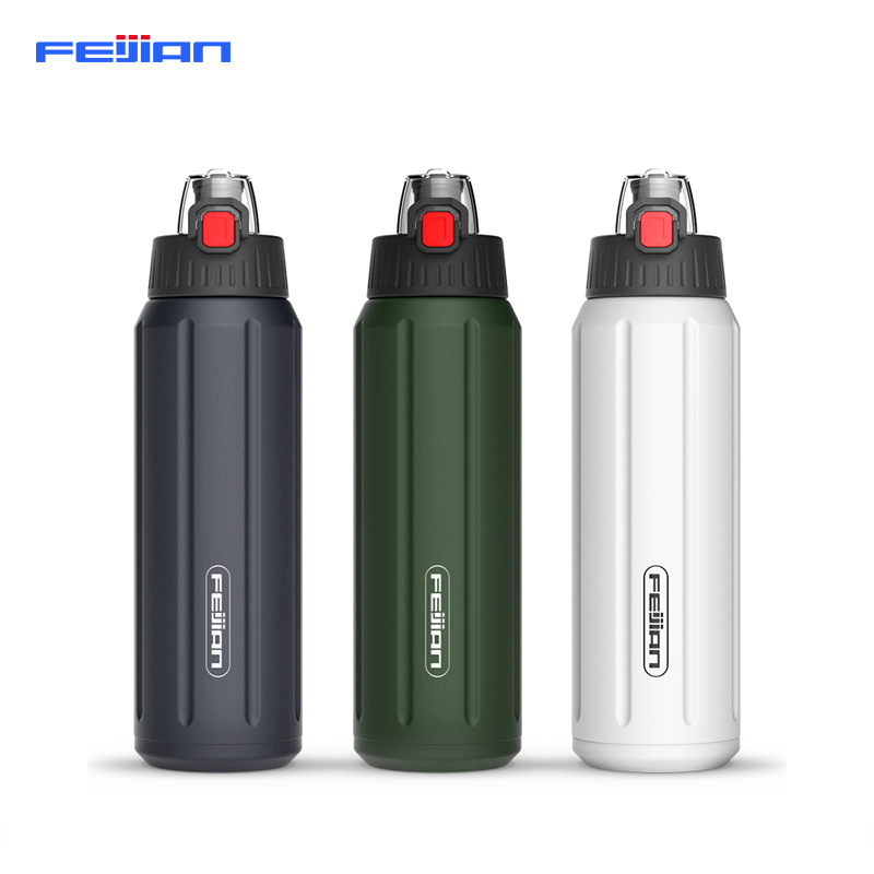 FEIJIAN Shaker Sports Water Bottle Portable 18 10 Stainless Steel Flask Tritan lid Bpa Free Jar Leak proof Canteen in Water Bottles from Home Garden
