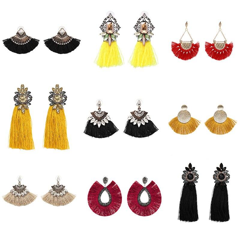 FASHIONSNOOPS 2019 Tassel Earrings Female Statement Jewelry Women Long Vintage Statement Bohemian Drop Earrings