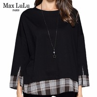 Max LuLu Autumn Fashion Korean Style Ladies Gothic Tops Tees Womens Plaid Black Oversized T Shirts Casual Long Sleeve T shirt