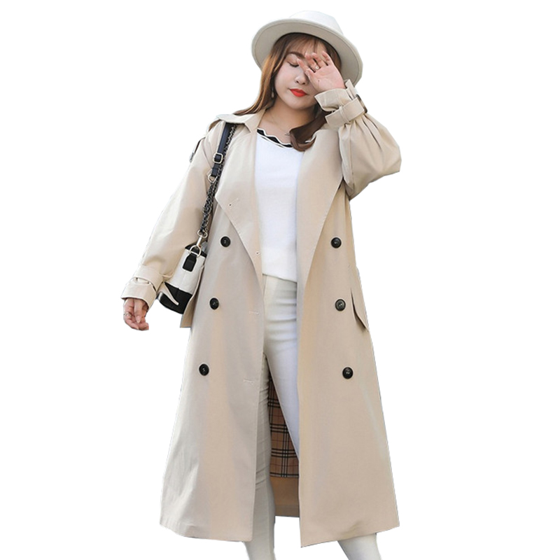 New Large size   Trench   coat Women Spring Autumn Double-breasted Long Windbreaker Female Plus size 4XL Apricot Black   Trench   A2794