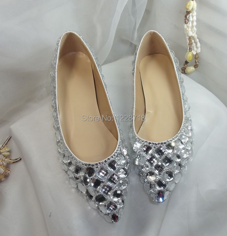 NEW Bride Flats Crystal Wedding Shoes Bling Rhinestone Women Flat Sapatos  Femininos Size 11 12 13 Zapatos Mujer In Womenu0027s Flats From Shoes On ...