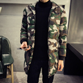 Mid-Long Winter Parka Camouflage  Coat Men Thickening Cotton-padded Winter Jacket Men with Hood
