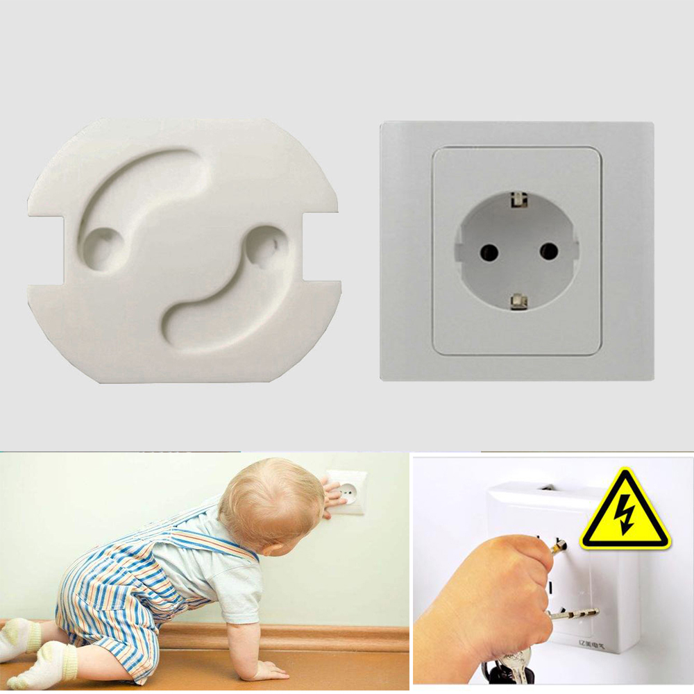 10 unids/lote, cubierta de rotación de seguridad para bebés, 2 agujeros, enchufe de protección eléctrica estándar para niños, enchufe de plástico con cerraduras de bebé a prueba de niños