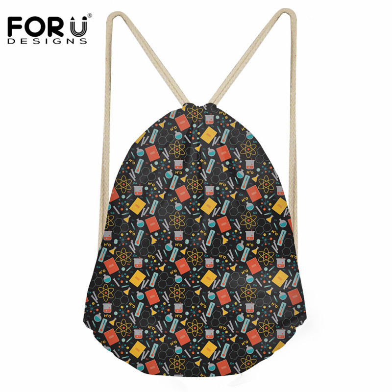 FORUDESIGNS Funny Scientist Pattern Male Daily Drawstring Bags Casual Shoes Storage Bags Fashion Female Travel String Backpack