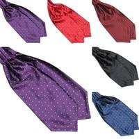 Fashion Polka Dot Men Long Silk Cravat Ascot Ties Handkerchief Gentlemen 3