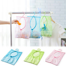 Hot PP+ Polyester Kitchen Bathroom Clothesline Storage Dry Doll Pillow Shelf Mesh Bag Hook Clothespin Multi-purpose net Bag@YL(China)