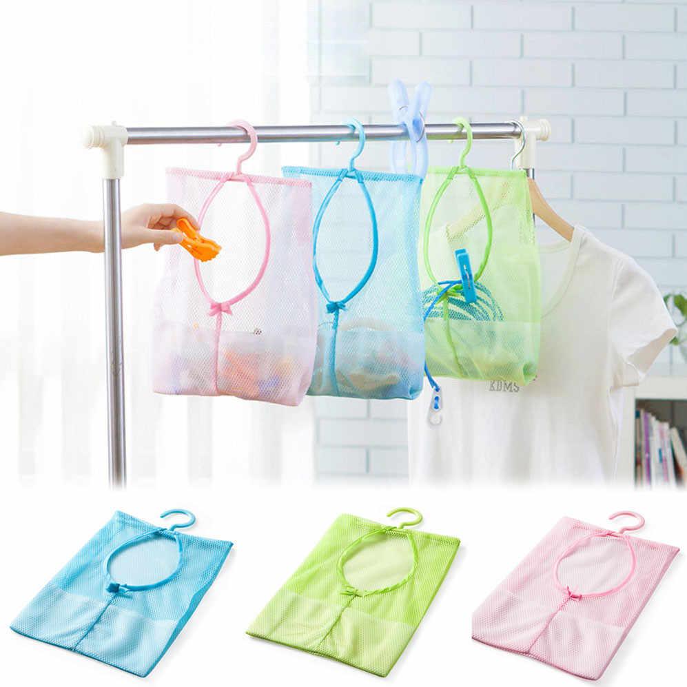 ร้อน PP + โพลีเอสเตอร์ห้องน้ำ Clothesline เก็บตุ๊กตาหมอนชั้นวางตาข่ายตะขอกระเป๋า Clothespin Multi - purpose สุทธิกระเป๋า 0.78