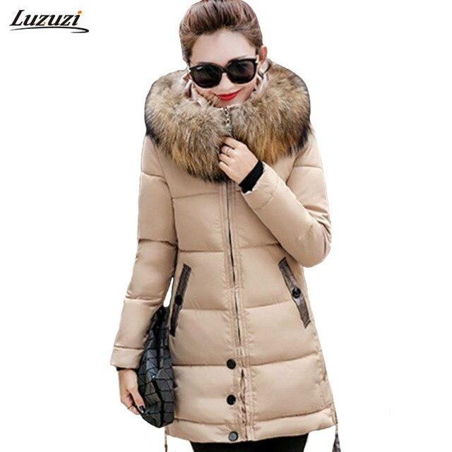 1ピース冬ジャケット女性の毛皮フード付きパーカーロングコート綿パッド入り冬コート女性jaqueta feminina inverno Z953