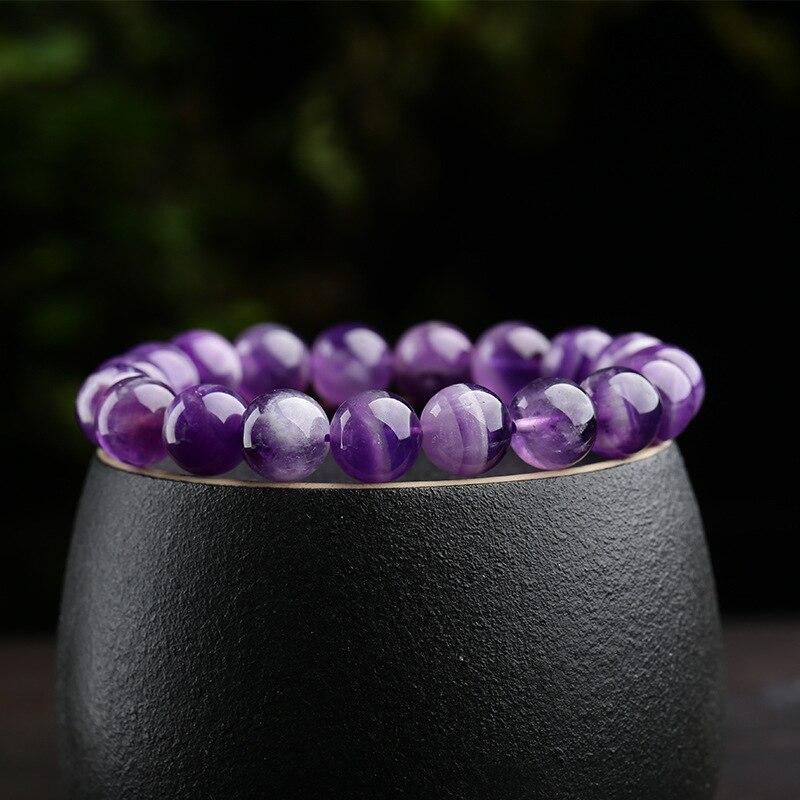 Perles de pierre améthyste naturelle garantie bracelets pour femme cristal pierres précieuses bijoux fins Bracelet Manchette Argent