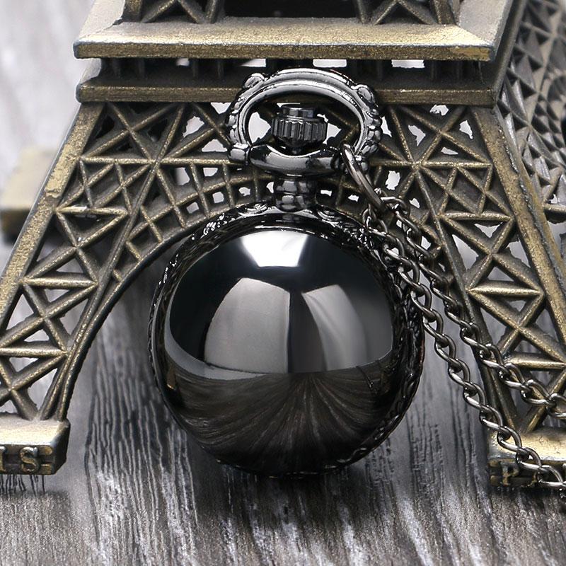 цена на Black Steampunk Smooth Ball Shaped Quartz Pocket Watch Necklace Pendant with Chain Womens Lady Gift Relogio De Bolso