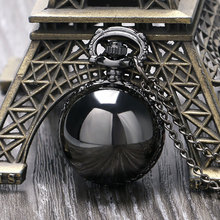Black Steampunk Smooth Ball Shaped Quartz Pocket Watch Necklace Pendant with Chain Womens Lady Gift Relogio De Bolso