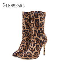 Women Boots Winter Shoes High Heels Sexy Leopard Ankle Boots Woman Party Shoes Pointed Toe Slip On Spring Autumn Female Boots DE