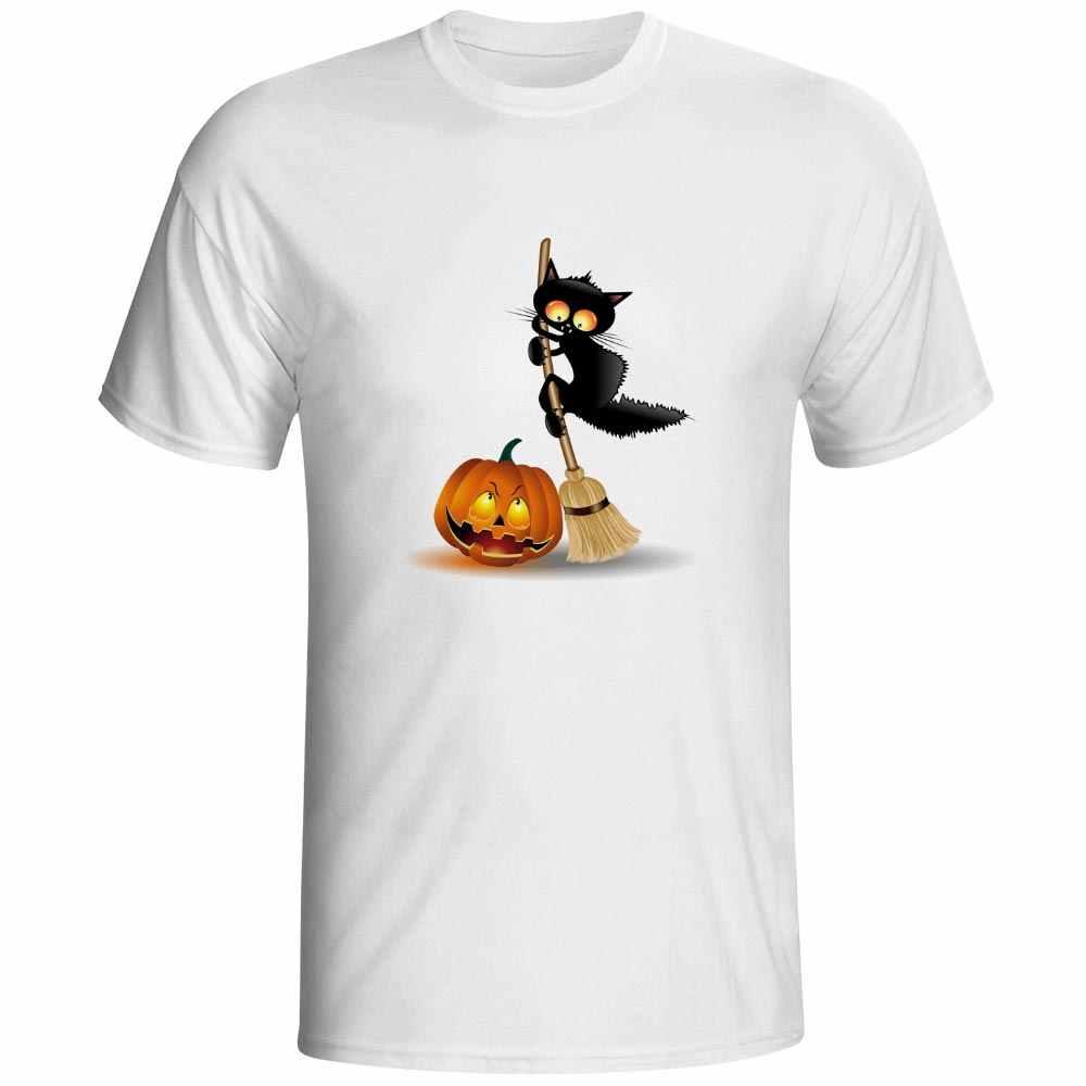 ฮาโลวีนผีฟักทองแมวเสื้อยืดออกแบบ3Dพิมพ์เสื้อยืดh allowmasตลกแฟชั่นเสื้อยืดเย็นป๊อปสบายๆคนบอยท็อปส์ประเดิม