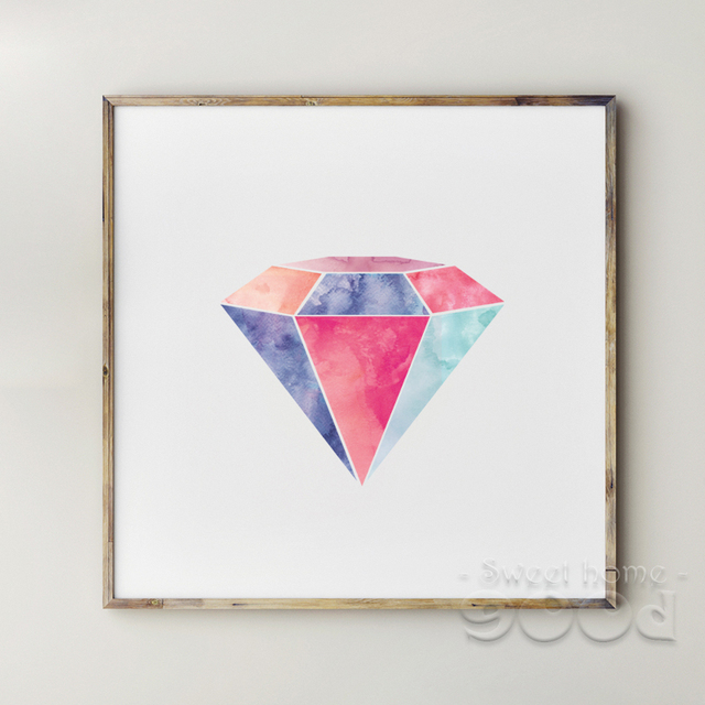 Watercolor Diamond Canvas Art Print Painting Poster, Wall Pictures ...