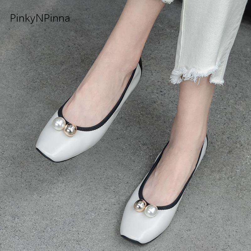 Lovely summer ladies soft sheepskin ballerina flats genuine leather pearl metallic ball slip on holiday chic women casual shoes in Women 39 s Flats from Shoes