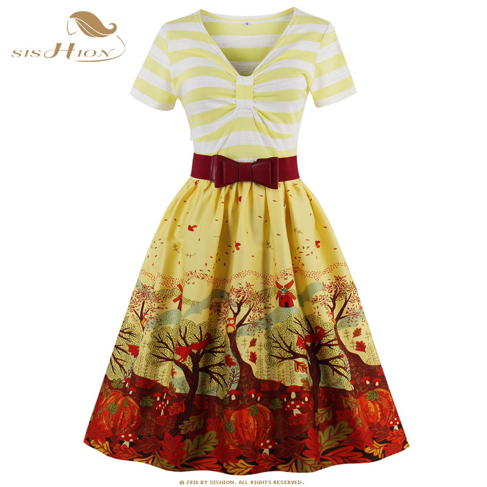 SISHION Short Sleeve Christmas Dress Striped Swing Retro Vintage Dress with Belt Blue Green Yellow Plus Size Summer Dress VD0446