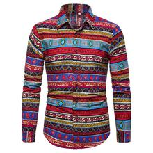 Hawaiian Style Social Shirt for Men Long sleeve Linen Casual Mens Floral Plus Size Blouse
