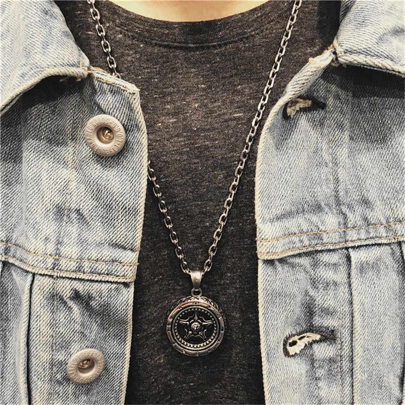 Nowy męski naszyjnik i wisiorek moda film biżuteria długi srebrny łańcuch człowiek klasyczny krzyż naszyjnik