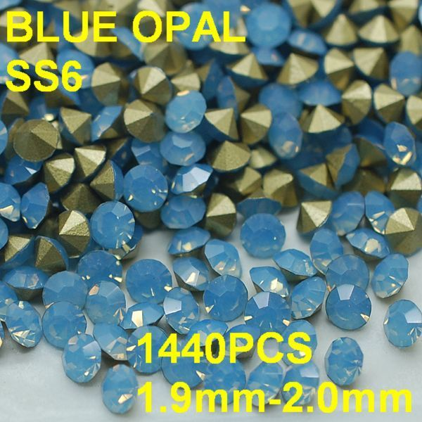 SS6 1440pcs/bag  Wholesale Round Blue Opal Rhinestones Golden Point Back for Nail Art 1.9mm-2.0mm Diy Crystal Nail Decor