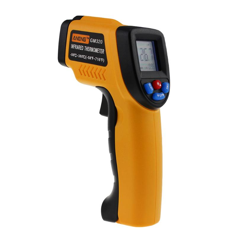 -26 to 716℉ AT380-32℃-380℃ Digital Infrared Thermometer Non-Contact with Adjustable Emissivity /& Max Measure