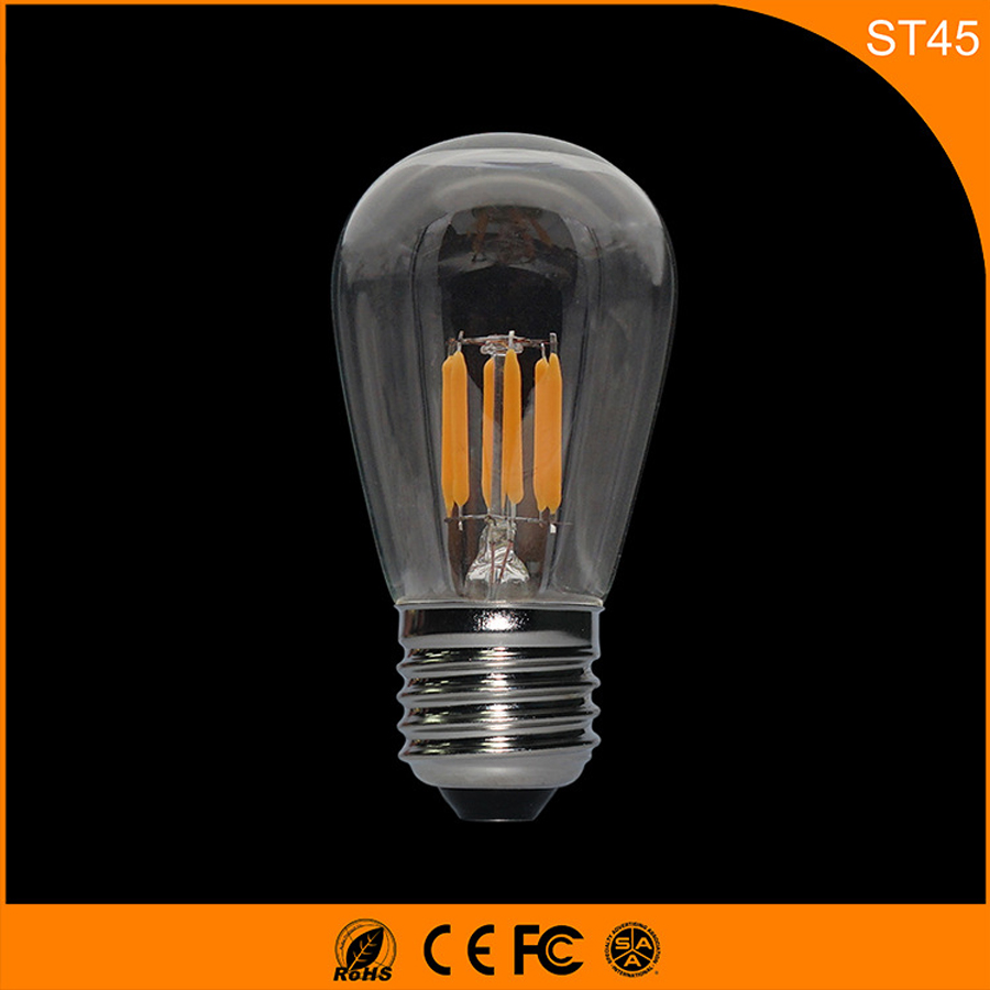 50PCS E27 B22 LED Bulb Retro Vintage Edison,ST45 3W Led Filament Glass Light Lamp, Warm White Energy Saving Lamps Light AC220V 5pcs e27 led bulb 2w 4w 6w vintage cold white warm white edison lamp g45 led filament decorative bulb ac 220v 240v