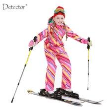 Detector/лыжный костюм для девочек; Водонепроницаемая детская Лыжная куртка; лыжные брюки; теплая одежда для мальчиков; Высококачественная зимняя одежда;-30 градусов