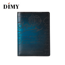 Dimy Italy Genuine Leather Passport Cover Case Porte Carte Bancaire Etui with Credit Card Holder Protector